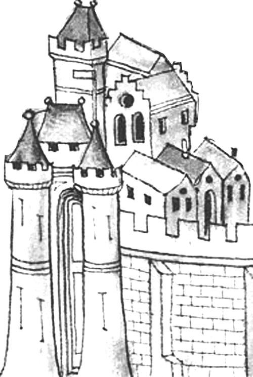 Dessin de ville médiévale