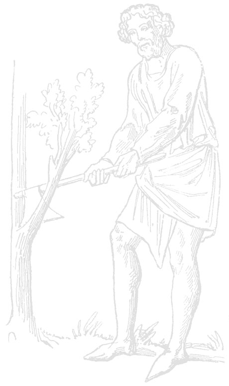 Dessin d'un bûcheron de l'époque médiévale